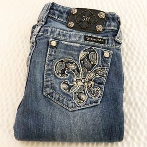 Miss Me Fleur De Lis Embellished Boot Cut Jeans